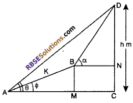 RBSE Solutions for Class 10 Maths Chapter 8 Height and Distance Additional Questions 63