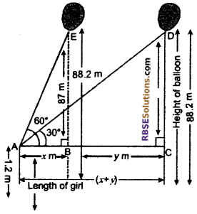 RBSE Solutions for Class 10 Maths Chapter 8 Height and Distance Additional Questions 70