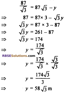 RBSE Solutions for Class 10 Maths Chapter 8 Height and Distance Additional Questions 71