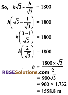 RBSE Solutions for Class 10 Maths Chapter 8 Height and Distance Additional Questions 74