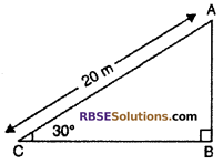 RBSE Solutions for Class 10 Maths Chapter 8 Height and Distance Additional Questions 9