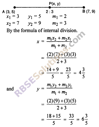 RBSE Solutions for Class 10 Maths Chapter 9 Co-ordinate Geometry Ex 9.2 1