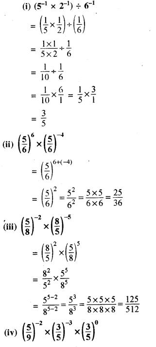 RBSE Solutions for Class 8 Maths Chapter 3 घात एवं घातांक Ex 3.2 Q1a