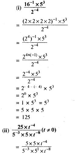RBSE Solutions for Class 8 Maths Chapter 3 घात एवं घातांक Ex 3.2 Q2a
