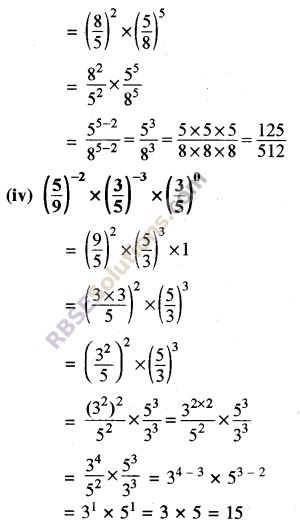 RBSE Solutions for Class 8 Maths Chapter 3 Powers and Exponents Ex 3.2 3