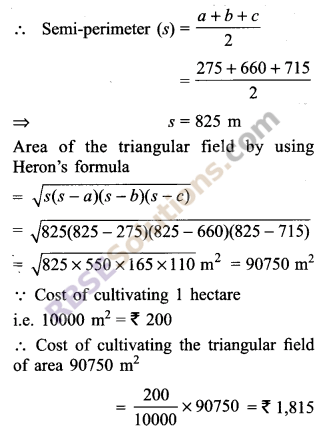RBSE Solutions for Class 9 Maths Chapter 11 Area of Plane Figures Additional Questions - 9