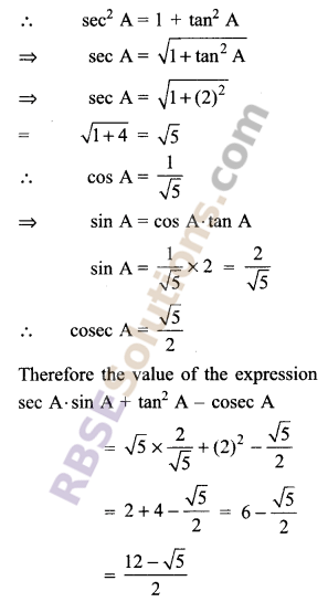 RBSE Solutions for Class 9 Maths Chapter 14 Trigonometric Ratios of Acute Angles Ex 14.2 - 11