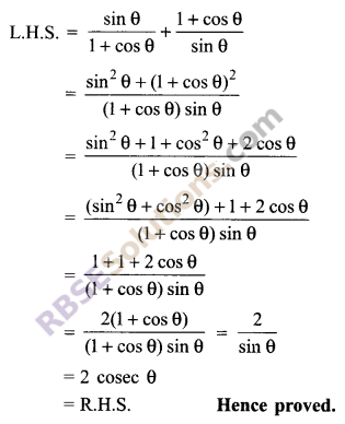 RBSE Solutions for Class 9 Maths Chapter 14 Trigonometric Ratios of Acute Angles Ex 14.3 - 14