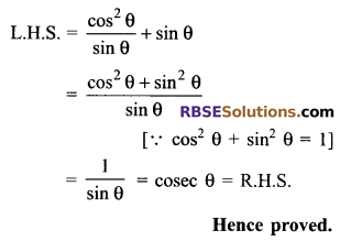 RBSE Solutions for Class 9 Maths Chapter 14 Trigonometric Ratios of Acute Angles Ex 14.3 - 2